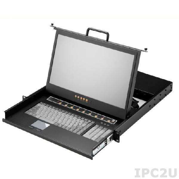 "AMK508-17WPB 1U, 17.3"", 1920x1080 LCD keyboard drawer, single rail, with 8 * 1.8m PS/2 cable, 8 port PS/2 KVM switch, touchpad"