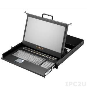 """AMK508-17WPB 1U, 17.3"""", 1920x1080 LCD keyboard drawer, single rail, with 8 * 1.8m PS/2 cable, 8 port PS/2 KVM switch, touchpad"""