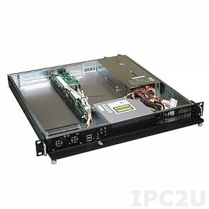 """GHI-101A 19"""" Rackmount 1U Chassis, 3 Slots, 1x5.25"""" Slim/1x3.5"""" Slim/2x3.5"""" HDD Drive Bays, without P/S"""