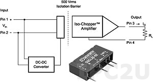DSCL20-02 Loop Powerd Isolator, Input 0...20 (4...20) mA, Output 0...20 (4...20) mA, Component Module, Straight Pins