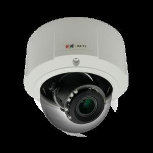 E815 5MP Outdoor Zoom Dome with D/N, Adaptive IR, Basic WDR, 4.3x Zoom lens, f3.1-13.3mm/F1.4-4.0, P-Iris, H.264, 1080p/30fps, DNR, Audio, MicroSDHC/MicroSDXC, PoE, IP67, IK10, DI/DO