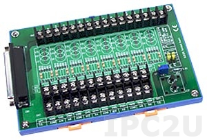 DB-8225/2/DIN Screw Terminal Board with CJC Sensor, DB-37 Connector, DIN-Rail Mounting, up to 50V