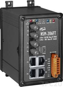 NSM-206FT Industrial Smart Ethernet Switch with 4 10/100 Base-T Ports and 2 Multi-mode 100 Base-FX Ports, IP20