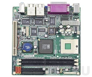KINO-6612LVDS-1GZ-R13 Mini-ITX Intel Celeron M 1GHz CPU Card with VGA/LVDS, 2xGb LAN, 1xPCI Slot, 2xSATA, Audio