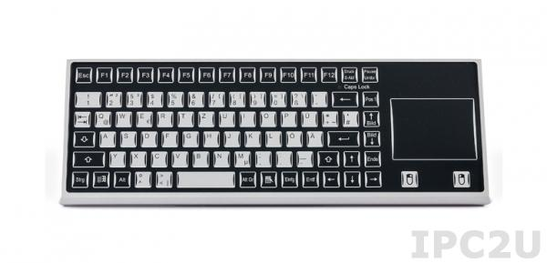 TKF-085c-TOUCH-MGEH-USB Desktop Industrial Keyboard IP65, 85 Keys, Touchpad, USB Interface