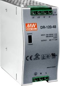 DR-120-48. 48 V/2.5 A, 120 W Single Output Industrial DIN Rail Power Supply