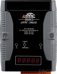 uPAC-5002D PC-compatible 80MHz Industrial Controller, 512KB Flash, 768KB SRAM, 16KB EEPROM, 31B NVRAM, microSD, 1xRS232, 1xRS485, 1xFastLAN, LED display, 12-48 VDC