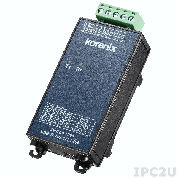 JetCon 1201i-3KV Korenix Industrial USB to RS-422/485 Serial Converter w/ 3 kV insulation voltage between USB and RS-422/485, 1x USB, 1x RS-422/485, Wide Temperature -30..+75 C