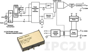 8B34-02 Linearized 2- or 3-Wire RTD Input Module, Pt-100, 0...+100 C, output 0...+5 V