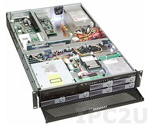 "GHI-289-SATA 19"" Rackmount 2U Chassis for 6-Slot Passive Backplane, 6x3.5"" Hot Swap SATA HDD, 1x2.5"", 1x5.25"", 1x3.5"" Slim Drive Bays, without P/S"