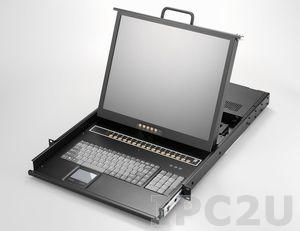 "AMK816-17CB 1U, 17"" LCD-Keyboard Drawer, Single Rail, with 16 x 1.8m KVM cable, 16 port Combo KVM, TouchPad, Single Rail, steel"