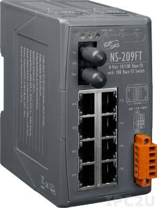 NS-209FT Industrial Smart Ethernet Switch with 8 10/100 Base-T Ports and 1 Multi-mode 100 Base-FX Port