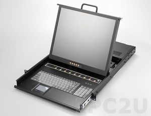 "AMK808-19PBD 1U, 19"" LCD-Keyboard Drawer, Single Rail, with 8 x 1.8m KVM cable, 8 port PS2 KVM, TouchPad, Single Rail, steel, 24-48 VDC"