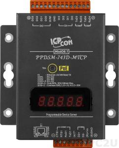 PPDSM-743D-MTCP Programmable Device Server with PoE, Modbus Gateway, 3 RS-232 ports, 1 RS-485 port and an LED Display with Metal Case