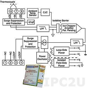 DSCT47T-07 Linearized Thermocouple Input Transmitter, Type T, Input 0...+200 °C, Output 4...20 mA