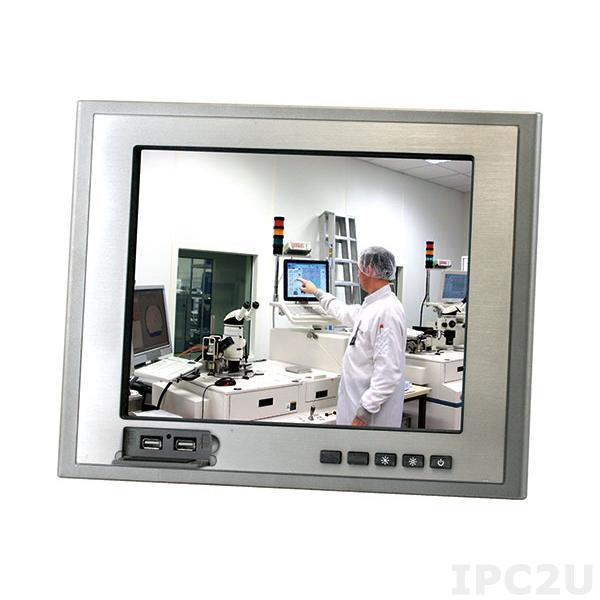 """TF-AGD-312DHTT-A2-1010 Panel Mount Display, 12.1"""" TFT LCD, XGA, IP65 Front Panel, DC-in, Res T/S, 2xUSB on front panel"""