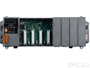 iP-8811 PC-compatible 80MHz Industrial Controller, 512kb Flash, 512kb SRAM, 2xRS232, 1xRS485, 1xRS232/485, 7-Segment Display, Mini OS7, 8 Expansion Slots