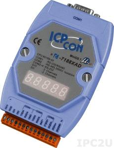 I-7188XAD PC-compatible 40MHz Industrial Controller, 512kb Flash, 512kb SRAM, I/O Expansion Bus, 2xDI/2xDO, 2xRS232, 1xRS485, 1xRS232/485, 7-Segment Display , MiniOS7, cable CA-0910x1