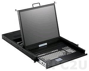 "SMK-920-19PL 1U, 19"" LCD-keyboard drawer, PS2 port, with 1.8m PS2 KVM cable, TouchPad, Aluminium"