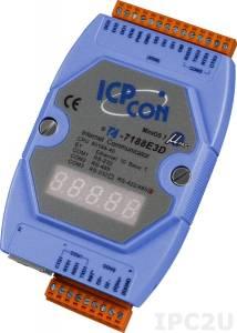 I-7188E3D PC-compatible AMD188ES 40MHz Industrial Controller, 256kb Flash, 256kb SRAM, Ethernet, 1xRS232, 1xRS485, 1xRS422/485, 4DI&4DO, 7-Segment Display, cable CA-0910x1