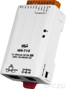 tDS-715i Device Server,1x10/100 Base-TX wiht PoE (IEEE 802.3af, Class 1) to 1xRS-422/RS-485 (2-wire RS-485, 4-wire RS-422) signal isolated 3kV, Power Input DC jack +12 ..+48 VDC or PoE, RoHS