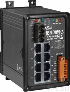 NSM-209FCS Industrial Smart Ethernet Switch with 8 10/100 Base-T Ports and 1 Single-mode 100 Base-FX Port, IP20