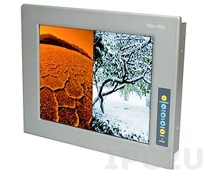 """TDM-150GMS/R Industrial 15"""" TFT LCD Monitor with Touch Screen, RS-232/USB Interface, Aluminium Front Panel IP65, 9...36V DC Input, -30...+70C Operation Temperature, 1xVGA, 1xDVI-D, 1xUSB, 1x12V DC, Silver"""