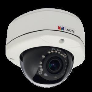 E83A 5MP Outdoor Dome with D/N, Adaptive IR, Basic WDR, Vari-focal lens, f2.8-12mm/F1.4, H.264, 1080p/30fps, DNR, Audio, MicroSDHC/MicroSDXC, PoE, IP67, IK10, DI/DO