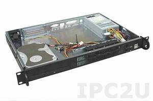 "GHI-108 19"" Rackmount 1U Chassis, Mini-ITX, 1x5.25"" Slim/1x3.5"" HDD, 1x2.5"" HDD Drive Bays, without P/S"