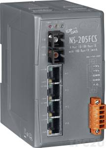 NS-205FCS Industrial Smart Ethernet Switch with 4 10/100 Base-T Ports and 1 Single-mode 100 Base-FX Port