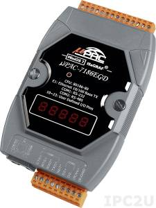 uPAC-7186EGD PC-compatible 80MHz Industrial Controller, 512kb Flash, 640kb SRAM, 2xRS232/485, Ethernet, MiniOS7, IsaGRAF