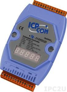 I-7188XGD PC-compatible 40MHz Industrial Controller, 512kb Flash, 512kb SRAM, I/O Expansion Bus, 2xDI/2xDO, 2xRS232, 1xRS485, 1xRS232/485, 7-Segment Display, ISaGRAF, cable CA-0910x1